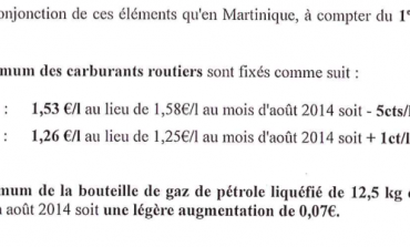 #Prix des #carburants en septembre 2014 en #Martinique