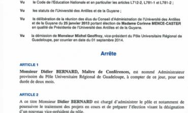 Didier Bernard, administrateur provisoire pour le pôle #Guadeloupe