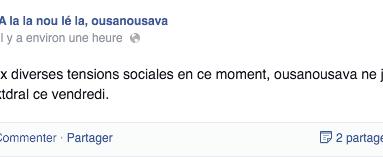 #ousanousava ? SurementpasalafeteaPardon. Lol