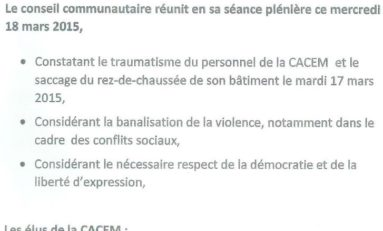 #CACEM : UNE SCANDALEUSE MOTION ANTI-SYNDICALE !