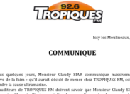 Communiqué de la radio Tropiques FM - 12 mai 2015