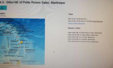 Communiqué sur le séisme ressenti du 1er octobre 2015 en Martinique