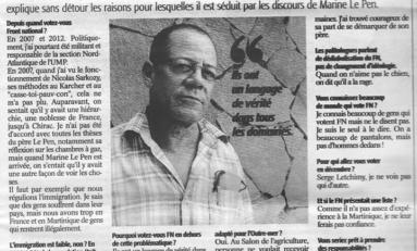 Martinique  : il vote pour le FN de Marine Le Pen...Le 6 décembre il votera pour Serge Letchimy
