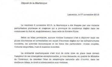 Le député Alfred Marie-Jeanne demande le classement de la Martinique en catastrophe naturelle