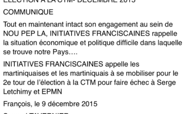 CTM : Initiatives Franciscaines dit non à Serge Letchimy et à EPMN