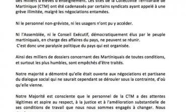 Grève à la CTM :  déclaration du  Président du Conseil Exécutif de la Collectivité Territoriale de Martinique