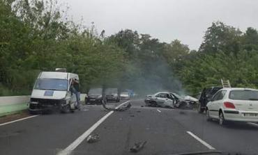 Accident de la route au quartier Derrière Morne à Sainte -Marie en Martinique