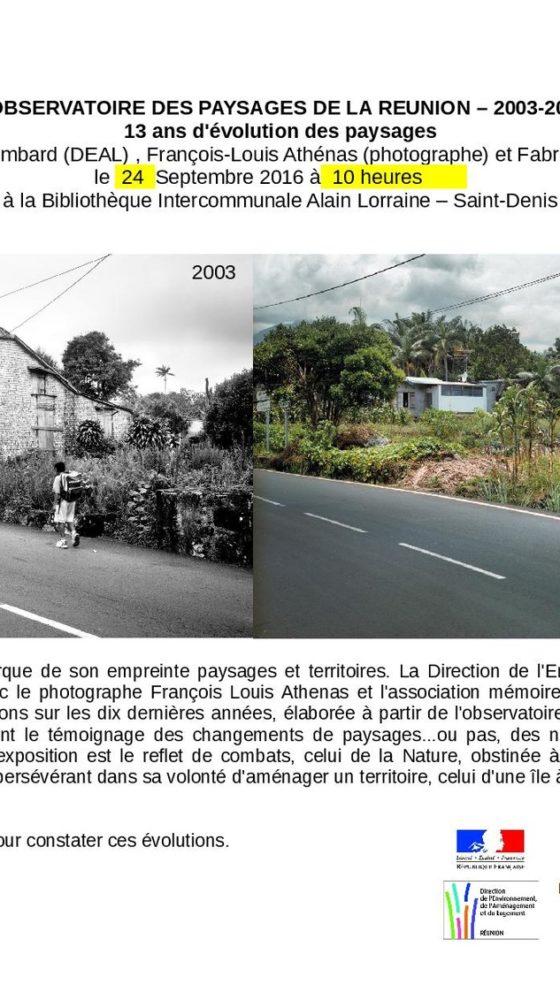 Bibliothèque intercommunale Alain Lorraine : L'observatoire des paysages de La Réunion – 2003-2015 – Journées Européennes du Patrimoine à la Réunion