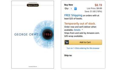"""Le roman """"1984"""" est épuisé sur Amazon. Merci Donald."""