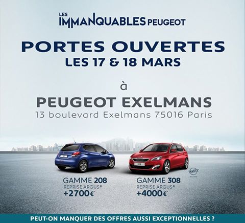 portes ouvertes peugeot paris exelmans automobiles bondamanjak. Black Bedroom Furniture Sets. Home Design Ideas