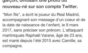Martinique Première  offre la double nationalité à Raphaël Varane