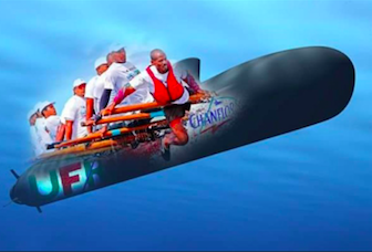 Tour de la Martinique des yoles rondes : UFR/Chanflor sous-marin au Marin