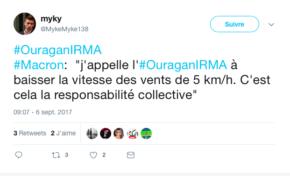 Le tweet du jour 06/09/17 - Irma - Macron