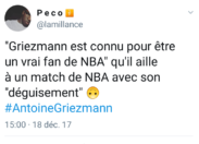 Le tweet du jour 18/12/17 - Griezmann - NBA - BLACK FACE