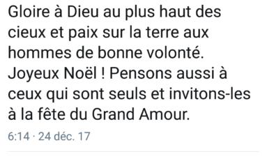 Le tweet du jour 24/12/17 Joyeux Noël- Jean-Marie Le Pen