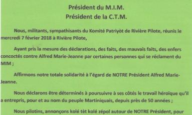 Martinique : le Komité Patriyot de Rivière-Pilote apporte un soutien sans faille à Alfred Marie-Jeanne