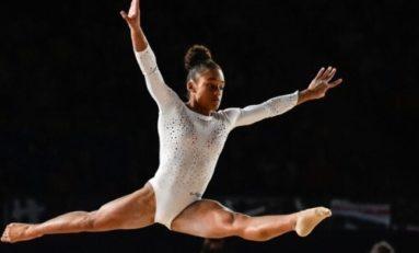 La gymnaste originaire de Martinique Mélanie Dos Santos, médaille d'or au sol  aux championnats d'Europe de Glasgow