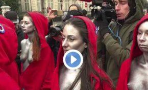 """Des """"Mariannes"""" nues sur les Champs Elysées... action symbolique """"gilets jaunes"""""""
