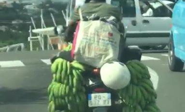 Un motard invente la Banane Air Bag (BAB) en Martinique