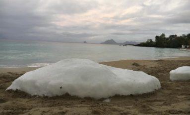 Des blocs de glace sur la plage de l'Anse figuier en Martinique...